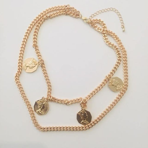 Claire double gold necklace (Free gift box)