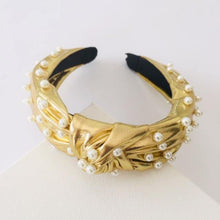 Load image into Gallery viewer, Gold with pearls Alice Band