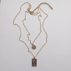 Miyu double gold chain necklace (free gift box)
