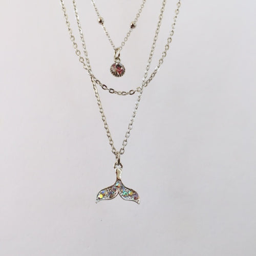 Silver fin chain necklace (free gift box)