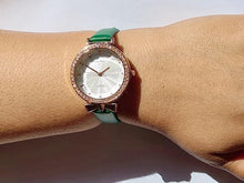 Load image into Gallery viewer, Annika green watch with diamante detail (free gift box and an extra battery)