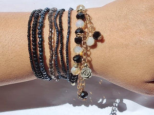 Navy stack bracelet set(free gift bag)