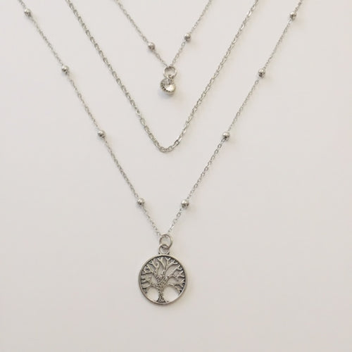 Shirin triple silver chain necklace with tree of life pendant (free gift box)