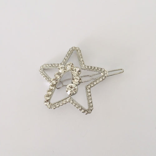 Silver star diamante hair clip