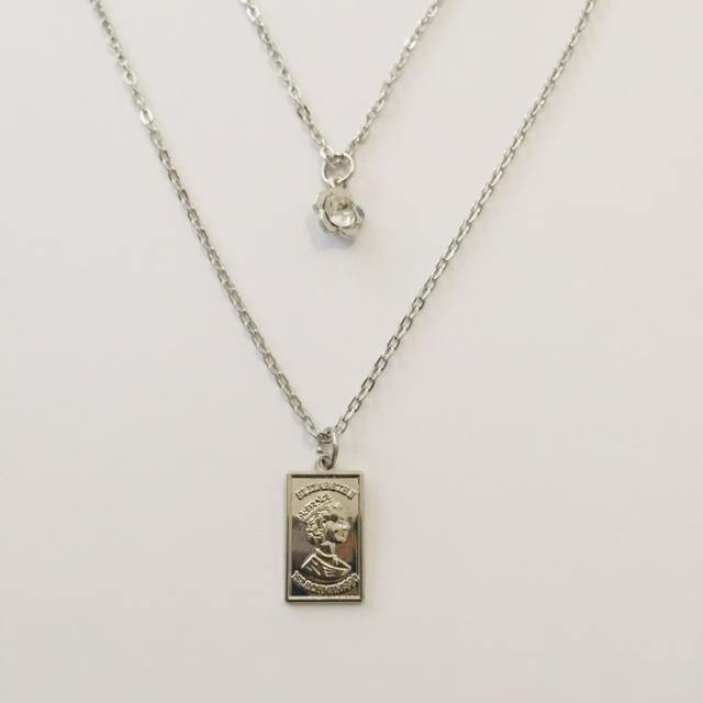 Miyu silver double chain necklace (free gift box)