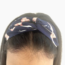 Load image into Gallery viewer, Navy headband with pink flamingo print (not an Alice Band)