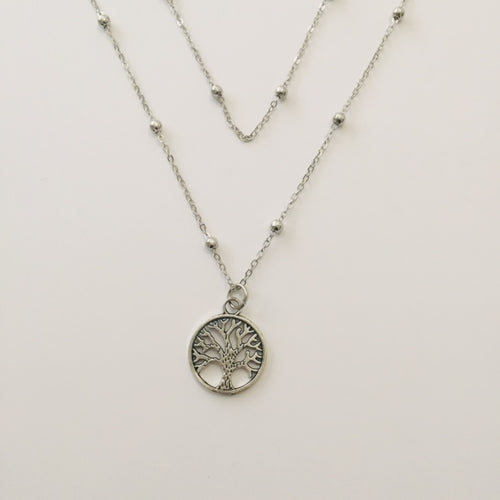 Silver double ball chain necklace with tree of life pendant (free gift box)