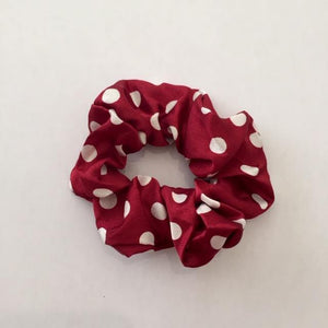 Maroon and white polka dot scrunchie