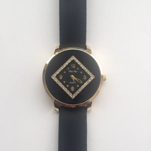 Tessa black and gold watch (free gift box & extra watch battery)