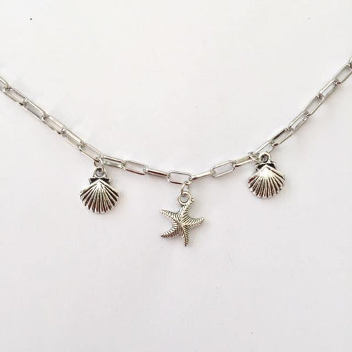 Beach silver anklet (free gift bag)