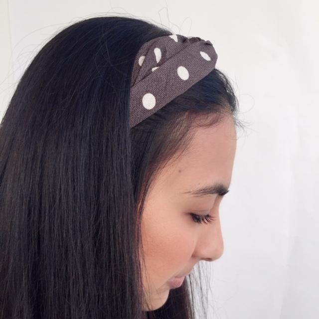 Dark grey and white polka dot headband (not an Alice Band)