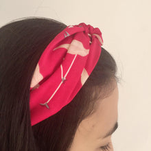Load image into Gallery viewer, Red headband with pink flamingo print (not an Alice Band)