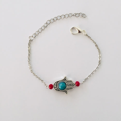 Silver Prayer Hand Anklet with turquoise howlite stone and red crystals (free gift bag)