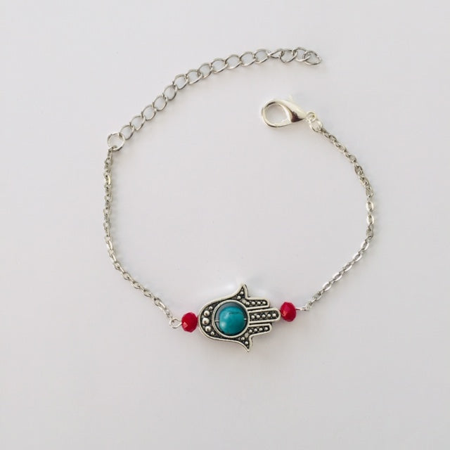 Silver Prayer Hand bracelet with howlite stone and red crystals (free gift bag)