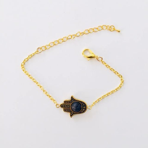 Gold Prayer Hand bracelet with larva stone (free gift bag)