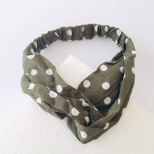 Load image into Gallery viewer, Olive green and white polka dot headband (not an Alice Band)