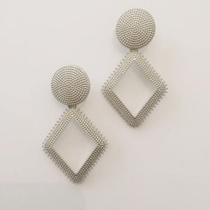 Diamond shape silver earrings