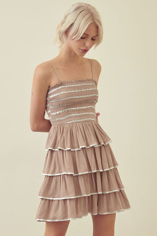 Taupe Tiered Dress