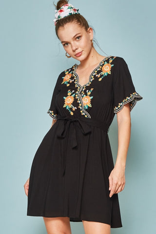 Black Scallop Embroidered Dress