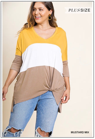 Mustard Color Blocked Tunic