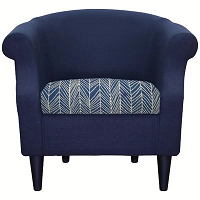 V-Shaped Lines Blue Elastic Cushion Cover - Square Shaped
