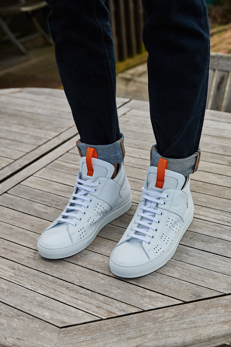 WHITE CALF LEATHER MID TOP SNEAKER