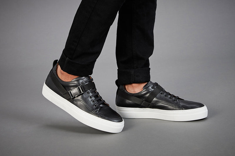 BLACK CALF LEATHER LOW TOP SNEAKERS - official website - shoes and accessories