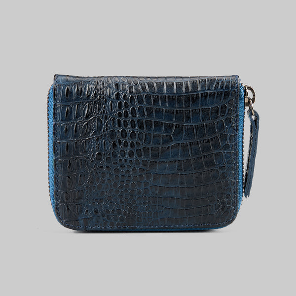CROCODILE EMBOSSED AND SAFFIANO LEATHER WALLET