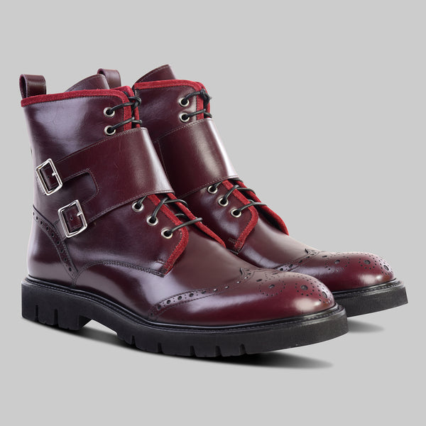 BURGUNDY DOUBLE BUCKLE BOOT