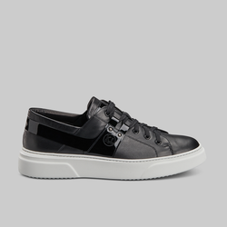 BLACK CALF AND PATENT LEATHER LOW TOP SNEAKERS - official website - shoes and accessories