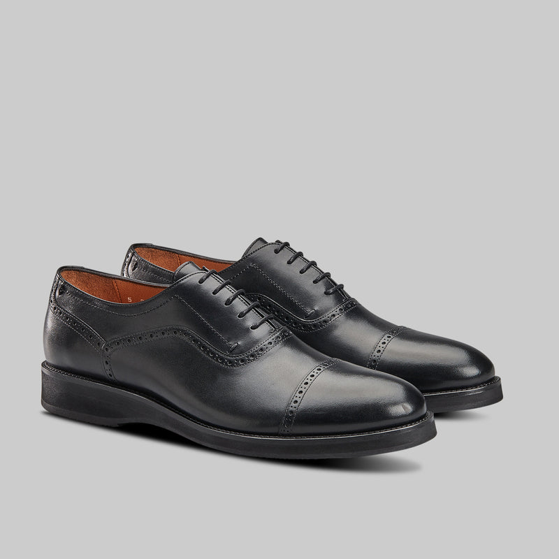 BLACK CALF LEATHER OXFORDS