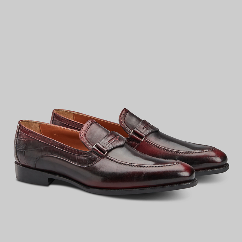 BURGUNDY AND BLACK PATINA LOAFERS - official website - shoes and accessories