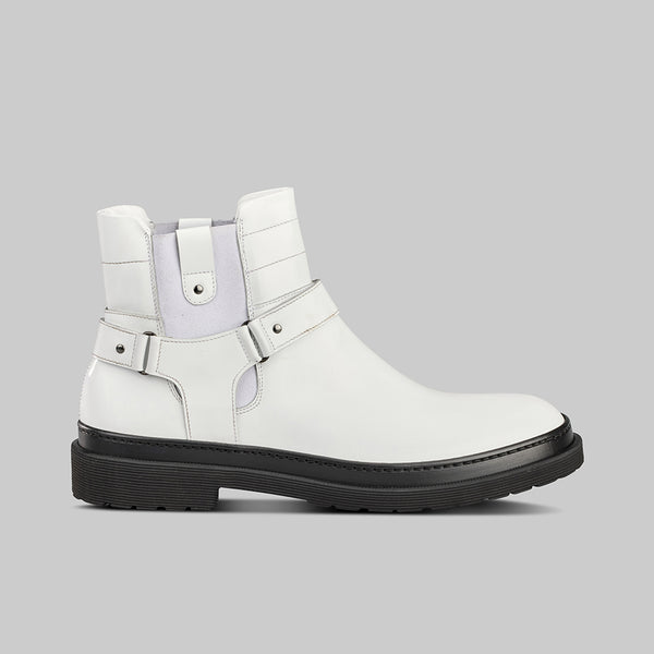 WHITE LEATHER CHELSEA BOOT
