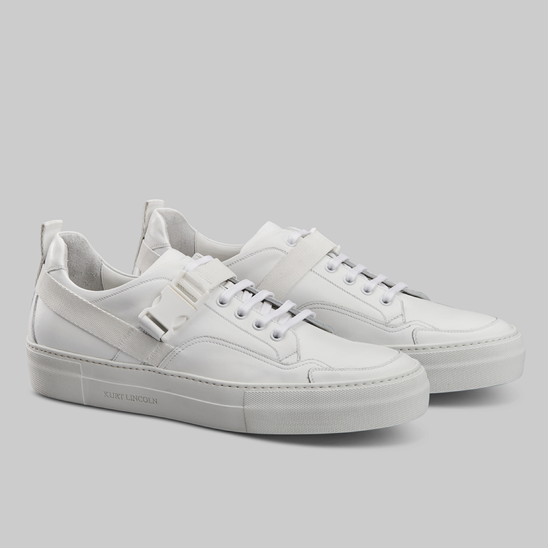 WHITE LOW TOP SNEAKERS WITH STRAP - official website - shoes and accessories
