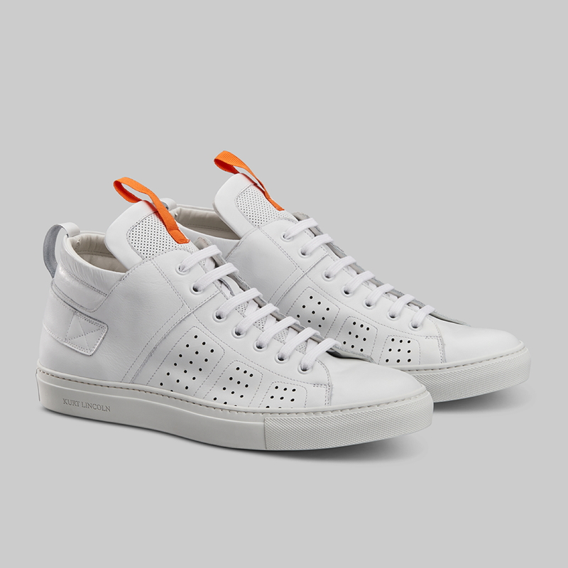 WHITE CALF LEATHER MID TOP SNEAKERS - official website - shoes and accessories