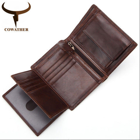 Mens Genuine Leather Short Wallet