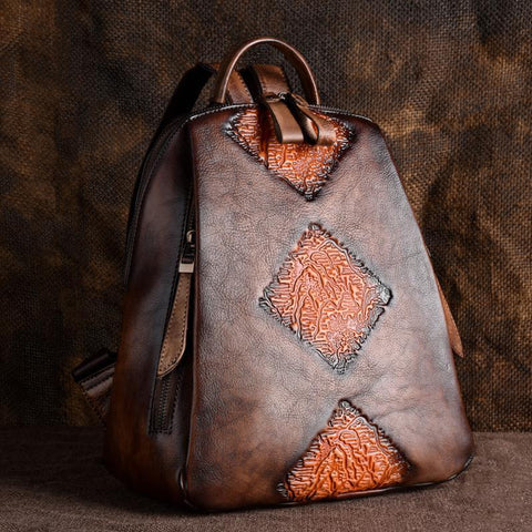 Real Leather Vintage Backpack with Unique Embossed Design