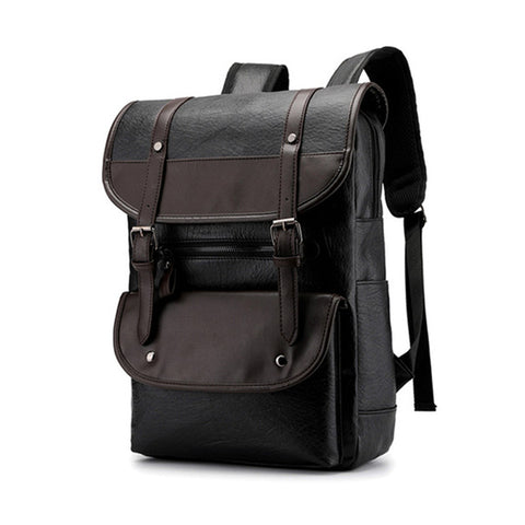 Vintage PU Leather Fashion Student Backpack