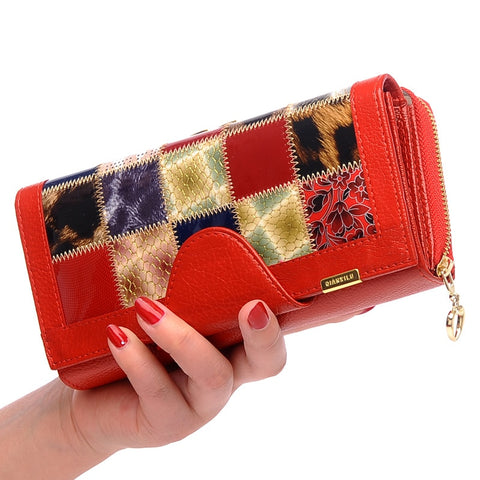 Genuine Leather Clutch Wallet Plaid Fashion Design