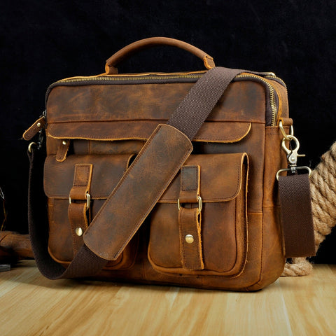 Real Leather Antique Style Briefcase