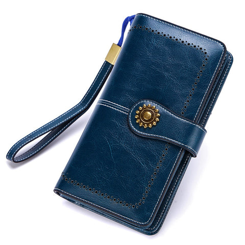 Genuine Leather Women's  Long Clutch Wallet