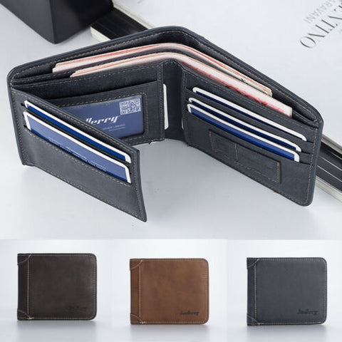 Mens pu Leather Short Foldable Wallet