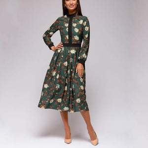 Women A-line Dress Autumn Vintage Style Vestidos for Female Casual Bottom Women Midi Dress