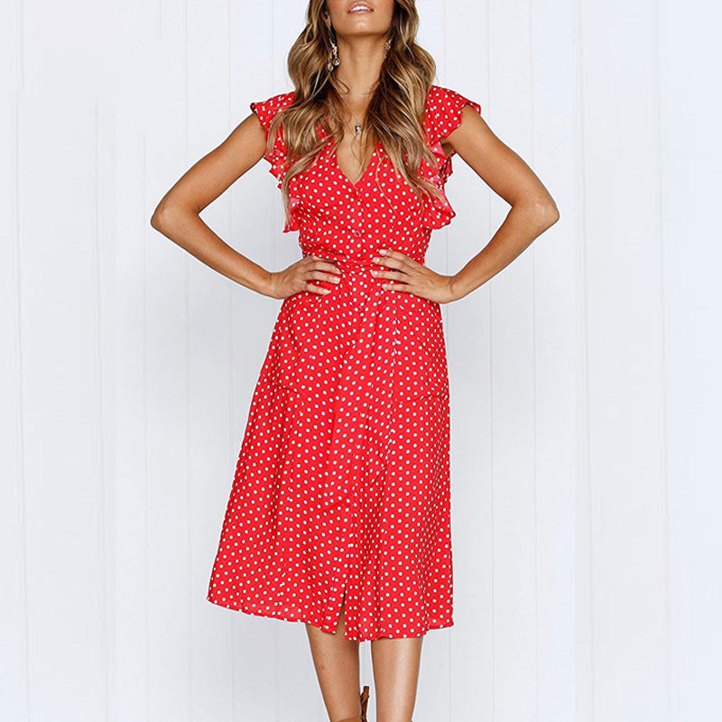 Boho Polka Dot Print Dress Women Casual Sleeveless V Neck Red Sundress Midi Dress Female Beach A-line Dress Vestidos