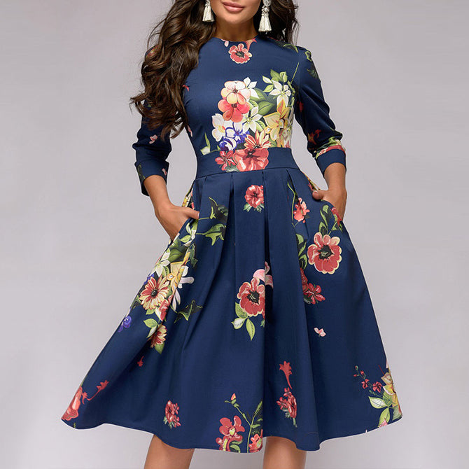 Women Floral Printed Navy A-line Dress Elegant O-neck 3/4 Sleeve Slim Party Vestidos Autumn Casual Dress