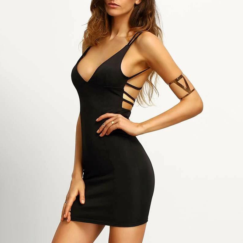Fashion Casual Women Crisscross Back Bodycon Cami Dress