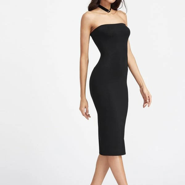 Fashion Casual Women Black Bodycon Midi Tube Dress