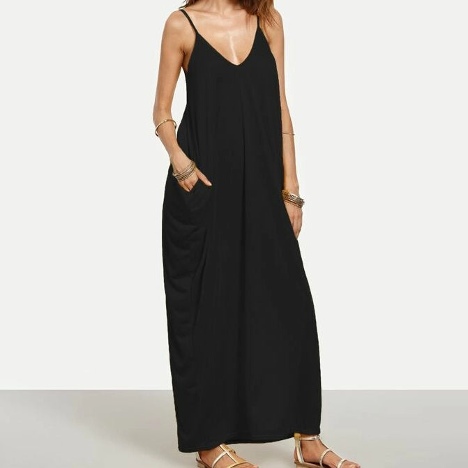 Fashion Casual Women Cocoon V-Neck Cami Maxi Dress
