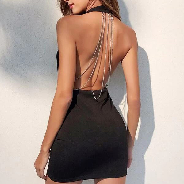 Fashion Casual Women Layered Chain Back Surplice Halter Dress