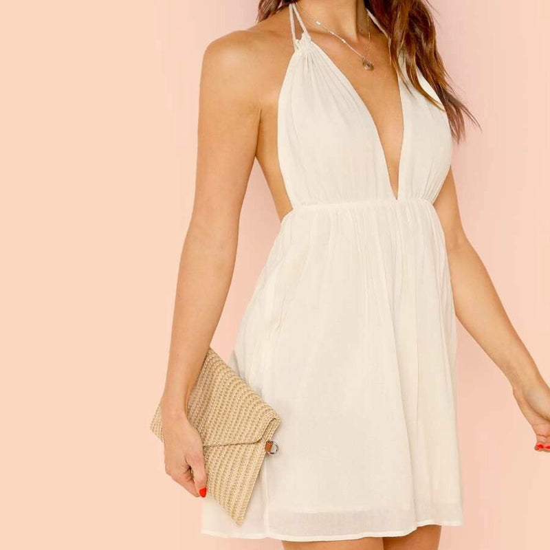 Fashion Casual Women Open Back Plunging Halter Neck Slip Dress